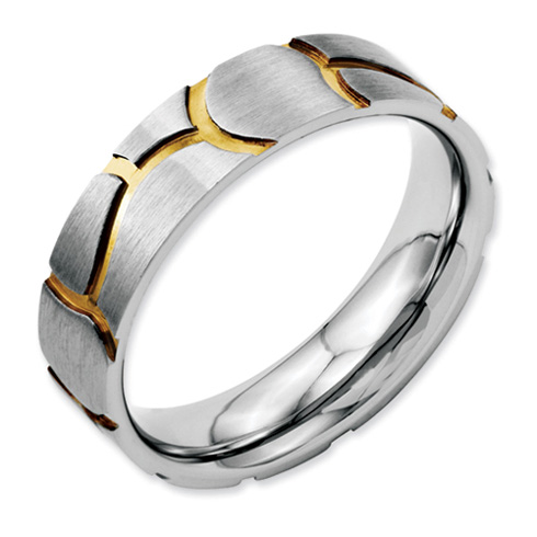 Stainless Steel Satin & Grooved Gold-plated Ladies 6mm Band
