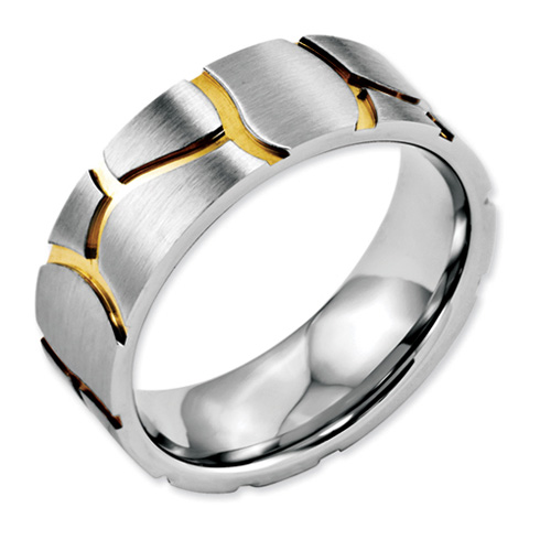 Stainless Steel 8mm Satin & Grooved Gold-plated Ring