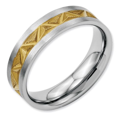 Stainless Steel Grooved Gold-plated Ladies 6mm Band
