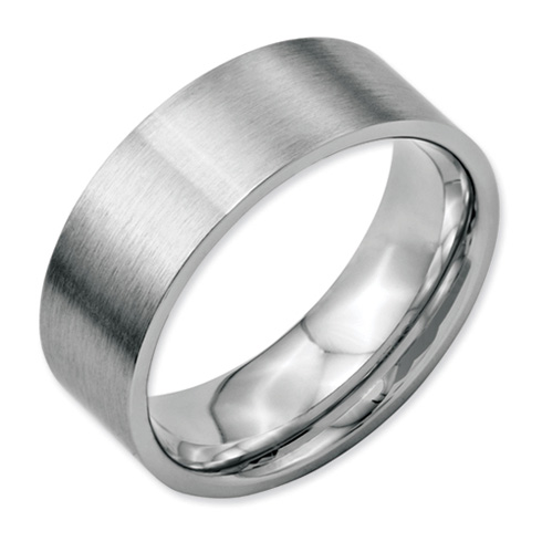 Stainless Steel 8mm Brushed Flat Wedding Band