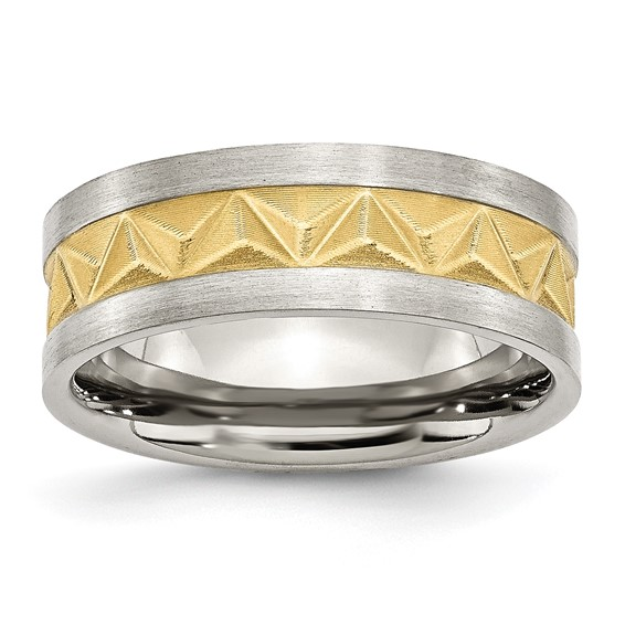 Stainless Steel Grooved Gold-plated Mens 8mm Band