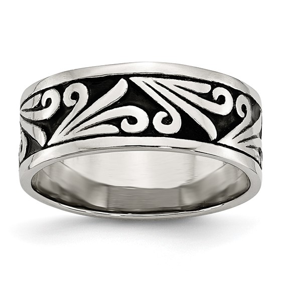 Stainless Steel Fancy Design Antiqued Ridged Edge Band