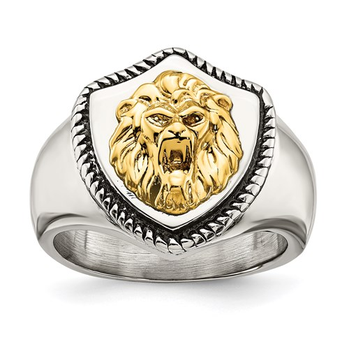 Stainless Steel Lion Head Shield Ring with 14k Gold Accent