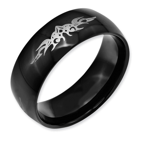 Stainless Steel Fancy Scroll Black Band