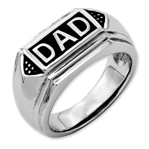 Stainless Steel Black Enamel Dad Ring