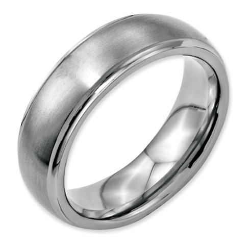 Stainless Steel Ridged Edge 7mm Brushed and Polished Band