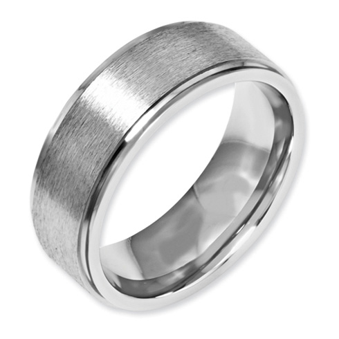 Stainless Steel Grooved Edge 8mm Satin and Polished Band