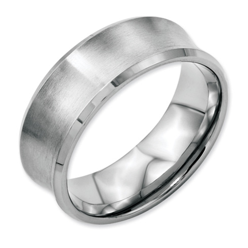 Stainless Steel Concave 8mm Brushed Band