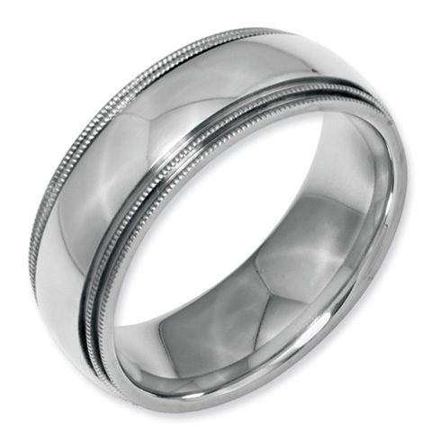 Stainless Steel 8mm Grooved and Beaded Polished Ring