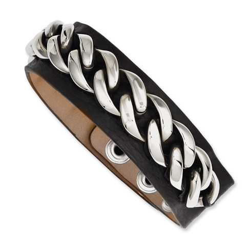 8 1/2in Stainless Steel Chain Black Leather Bracelet