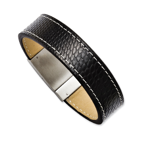 8 1/2in Stainless Steel Textured Black Leather Bracelet