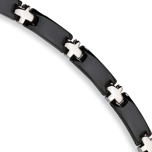 Stainless Steel Bracelet - Black-plated 8.25in