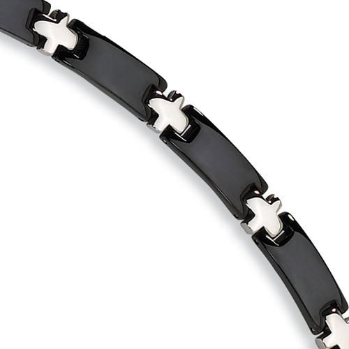 Stainless Steel Bracelet - Black-plated 8.25in