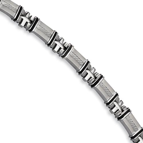Stainless Steel Black Rubber Bracelet 8.25in