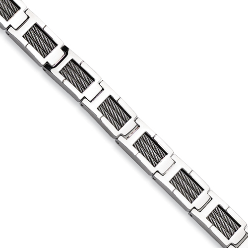 Stainless Steel Gray Cable Bracelet 8.5in