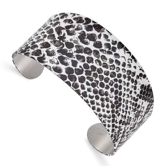 Stainless Steel Black and White Textured Cuff Bangle
