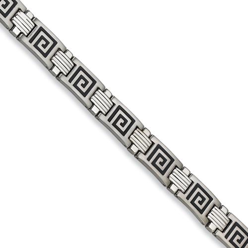 Stainless Steel Greek Key Bracelet 9in