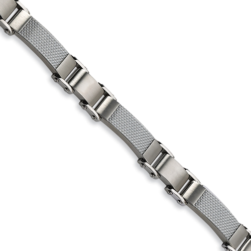 Stainless Steel Carbon Fiber Bracelet 9in