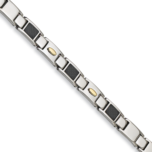 24k Gold Plated Stainless Steel Bracelet 9.5in