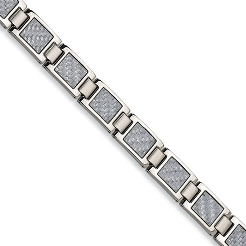 Stainless Steel Bracelet with Gray Carbon Fiber Accents 8.5in