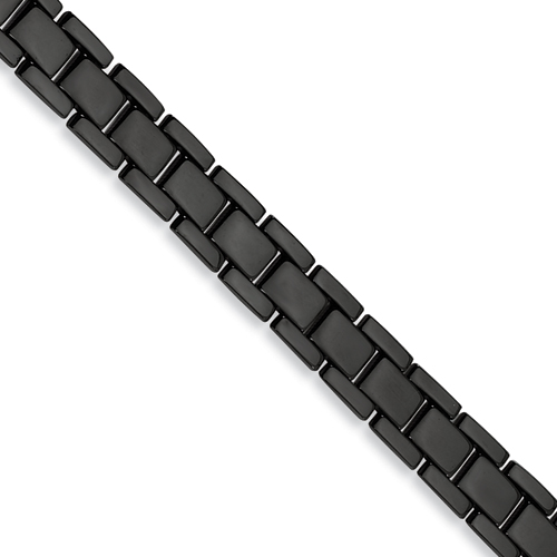 Stainless Steel Black-plated 8.5in Polished Bracelet