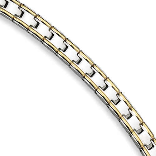 24k Gold Plated Stainless Steel Bracelet 8.5in