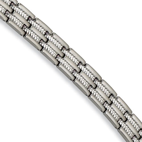 Stainless Steel Bracelet with Thin Notches 8.75in