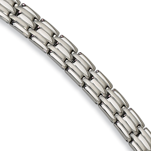 Stainless Steel Bracelet Interwoven Brushed and Polished Links 8.5in