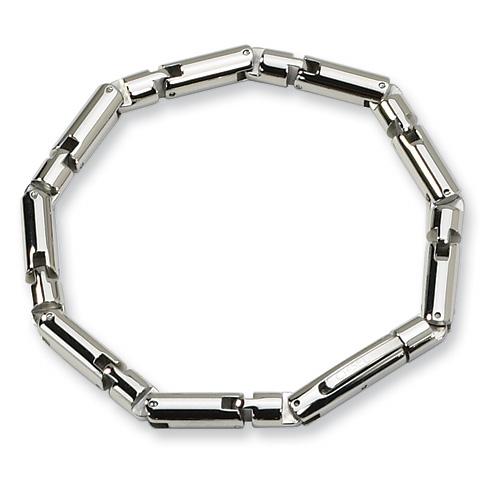 Stainless Steel 8 1/2in Barrel Link Bracelet