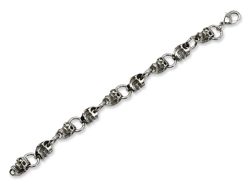 Stainless Steel 8 3/4in Skull Link Bracelet