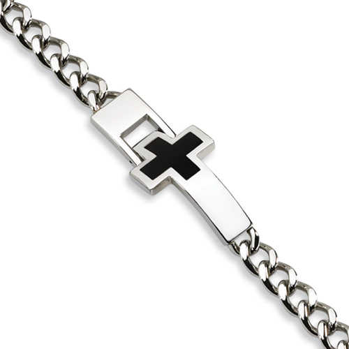 Stainless Steel Enameled Cross Bracelet 9.25in