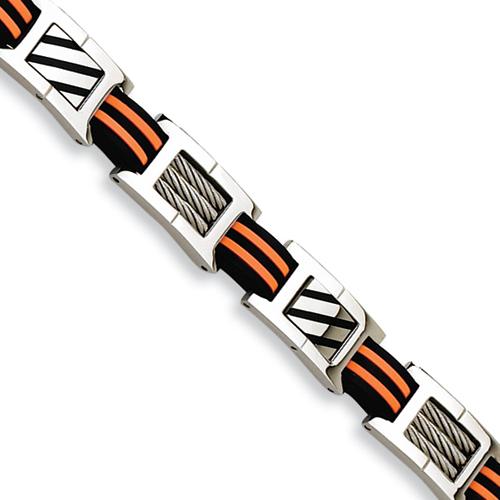Stainless Steel Enamel and Rubber Bracelet 8.5in