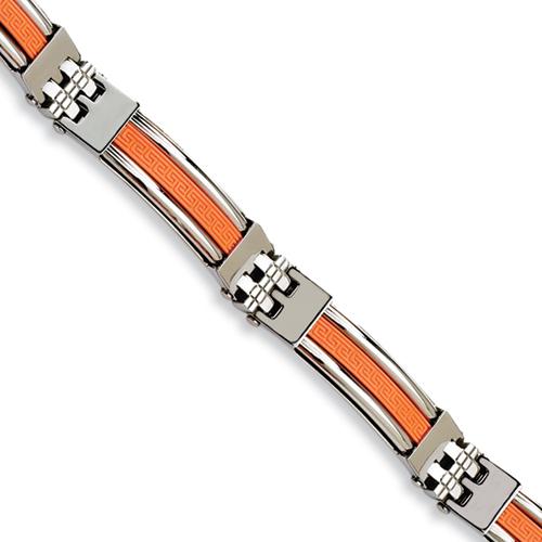 Stainless Steel 9in Orange Rubber Greek Key Bracelet