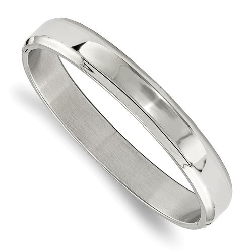 Stainless Steel 7.25in Polished Hinged Bangle