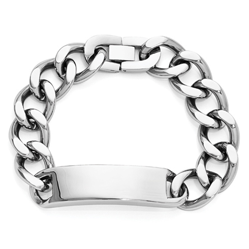 Stainless Steel 9in Polished ID Curb Link Bracelet