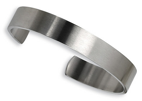Stainless Steel 8in Brushed Cuff Bangle