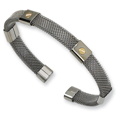 Stainless Steel Mesh Cuff Bangle with 18kt Gold Screw Accents