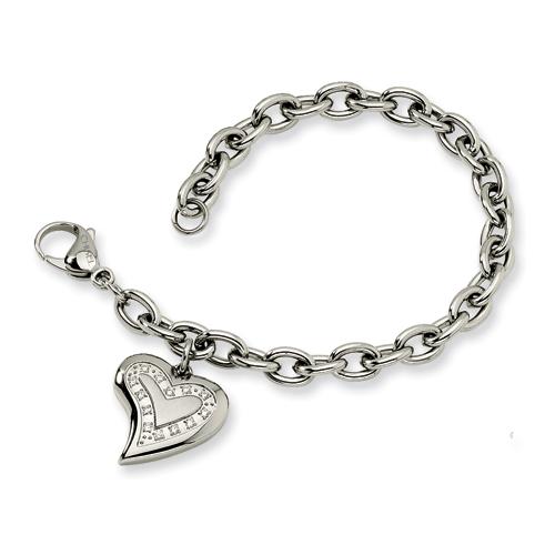 Stainless Steel CZ Heart Charm Fancy Bracelet 7.5in