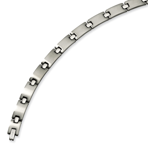 Stainless Steel 8.5in Brushed and Polished Link Bracelet