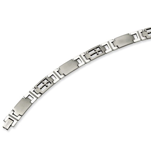 Stainless Steel 8.5in Cross & Link Bracelet