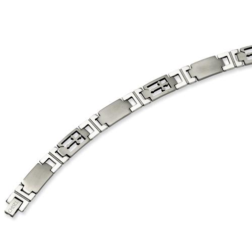Stainless Steel 8.5in Cross & Link Bracelet