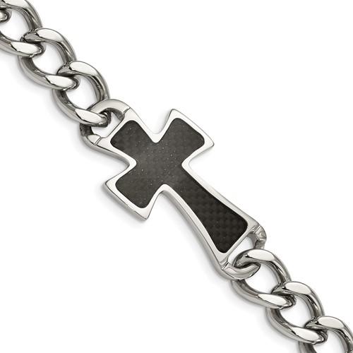 Stainless Steel Carbon Fiber Cross Curb Link Bracelet 8.5in