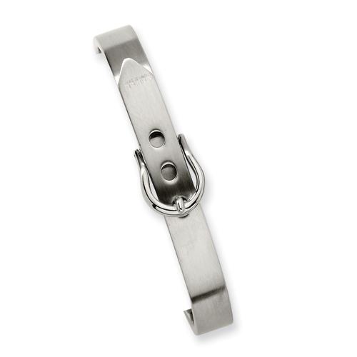 Stainless Steel Fancy Belt Hinged Bracelet 7in
