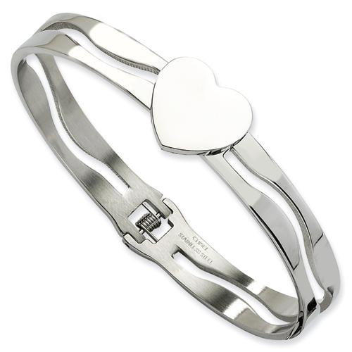 Stainless Steel Heart Hinged Bracelet 7in