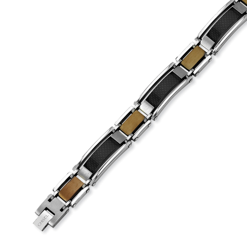 Stainless Steel Chocolate Carbon Fiber Bracelet 8.5in