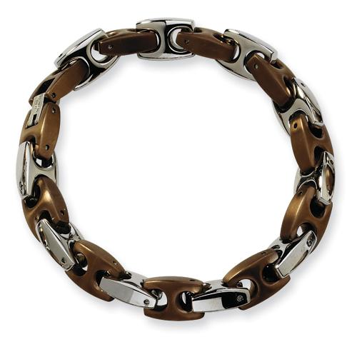 Stainless Steel Chocolate Fancy Bracelet 8.25in