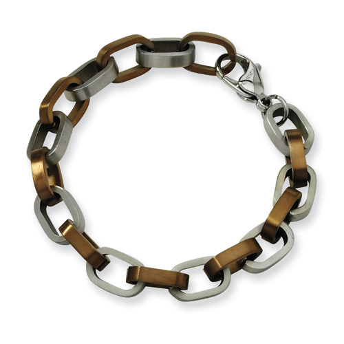 Stainless Steel Chocolate Plated Bracelet 8.5in