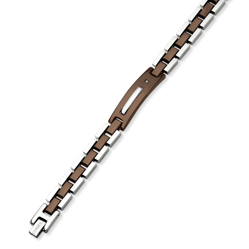 Stainless Steel Chocolate Plated 8.5in Diamond Bracelet