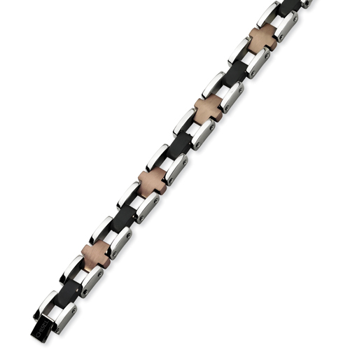 Stainless Steel and Chocolate & Black Plated Bracelet 8.75in