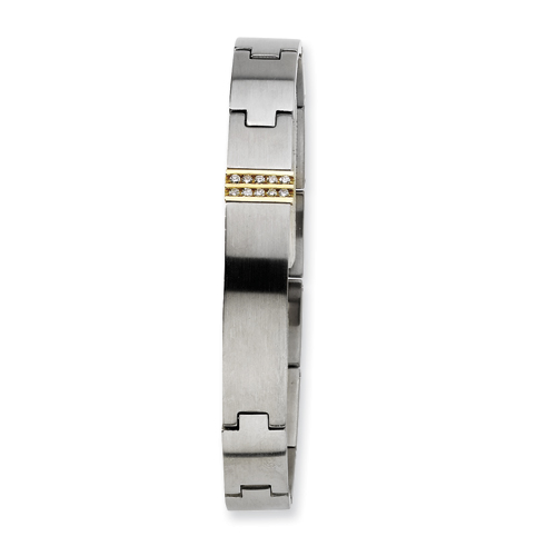 Stainless Steel and Diamond ID Bracelet 8.25in